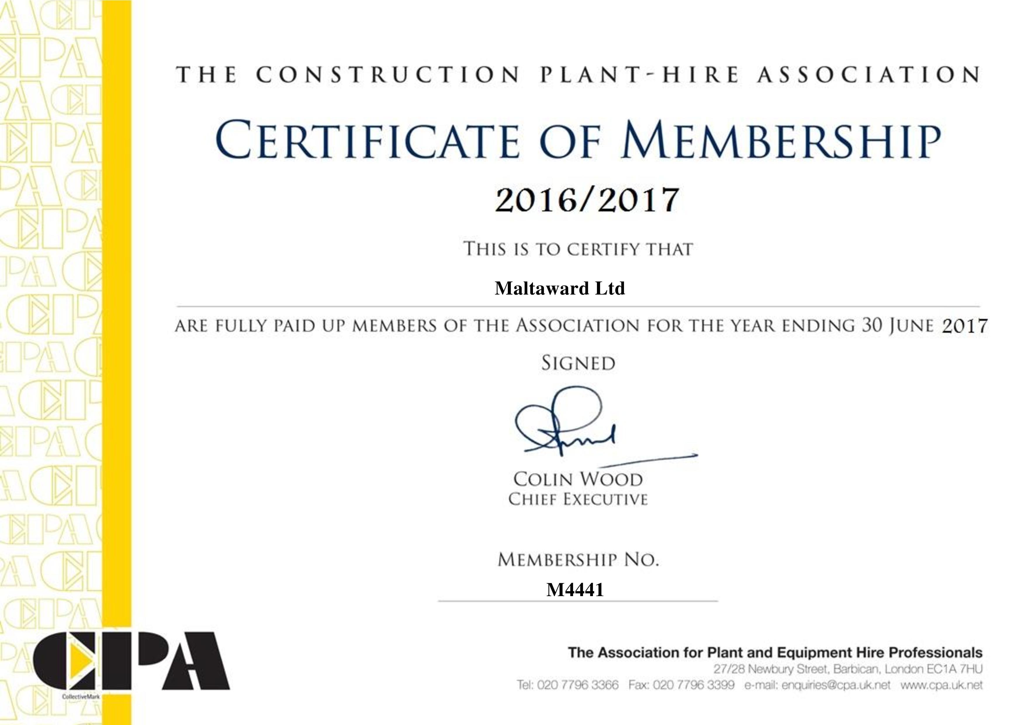 CPA Certificate of Membership