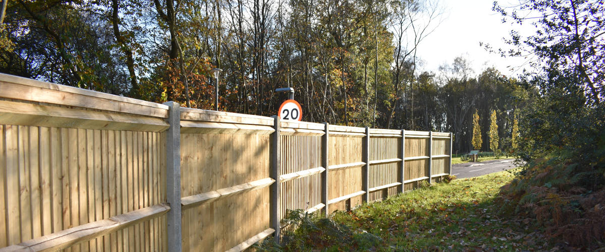 Closeboard Fencing set up by a roadside