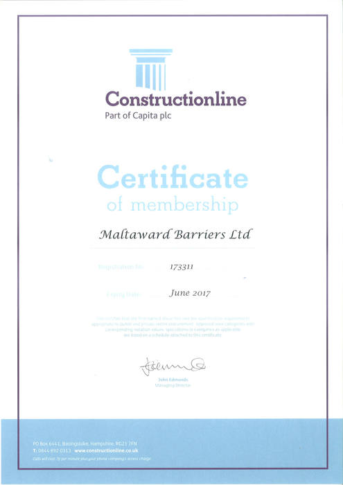 Constructionline Membership Certificate