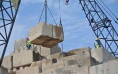 Kentledge blocks on a building site