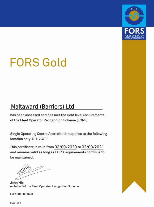 FORS Gold 2020 certificate image