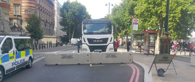 Temporary concrete barrier installation in London