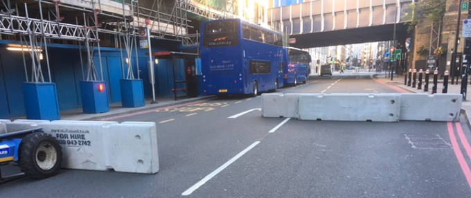 Concrete Barriers at AAF Marathon 2017 in London