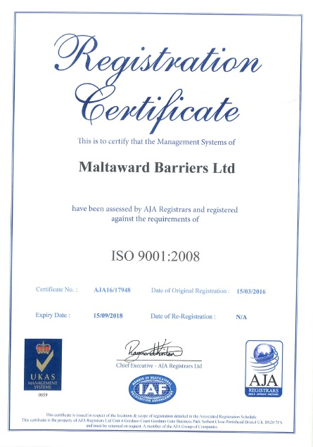 Maltaward ISO 9001:2008 UKAS Accreditation