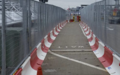 MASS Safety Barriers set up to form a path