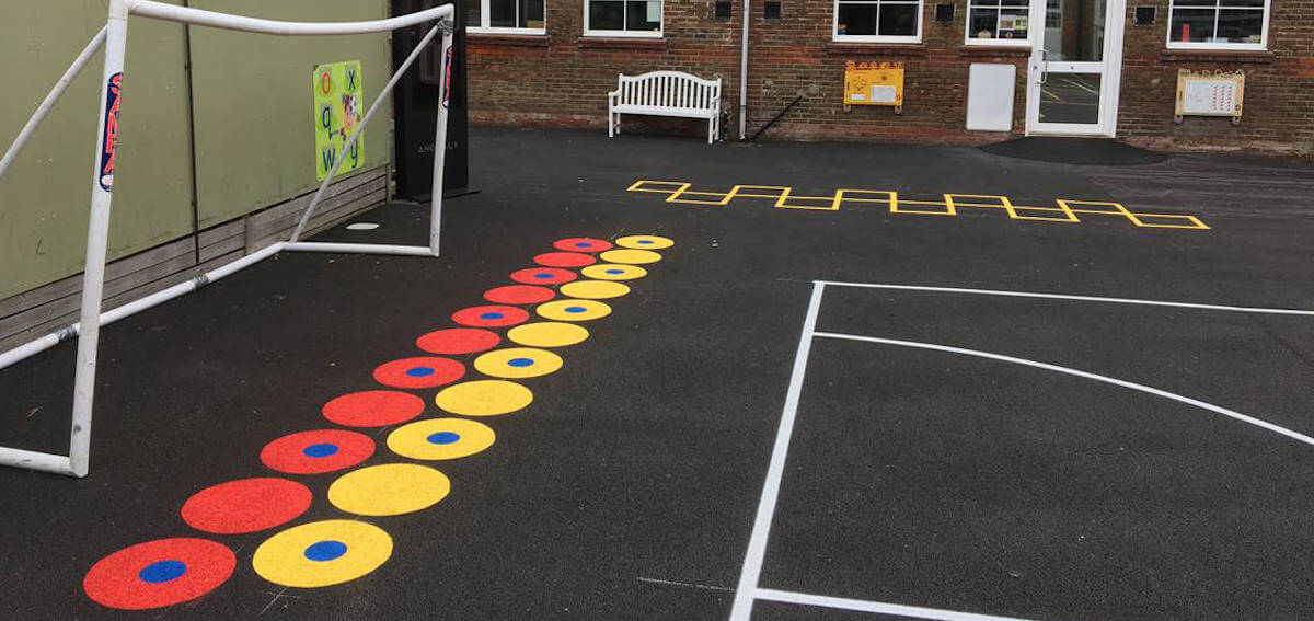 Playground painted lines for tarmac football pitch