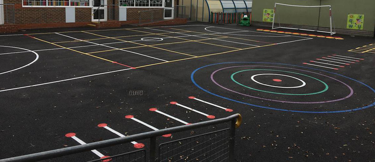 Colourful school playground line painting