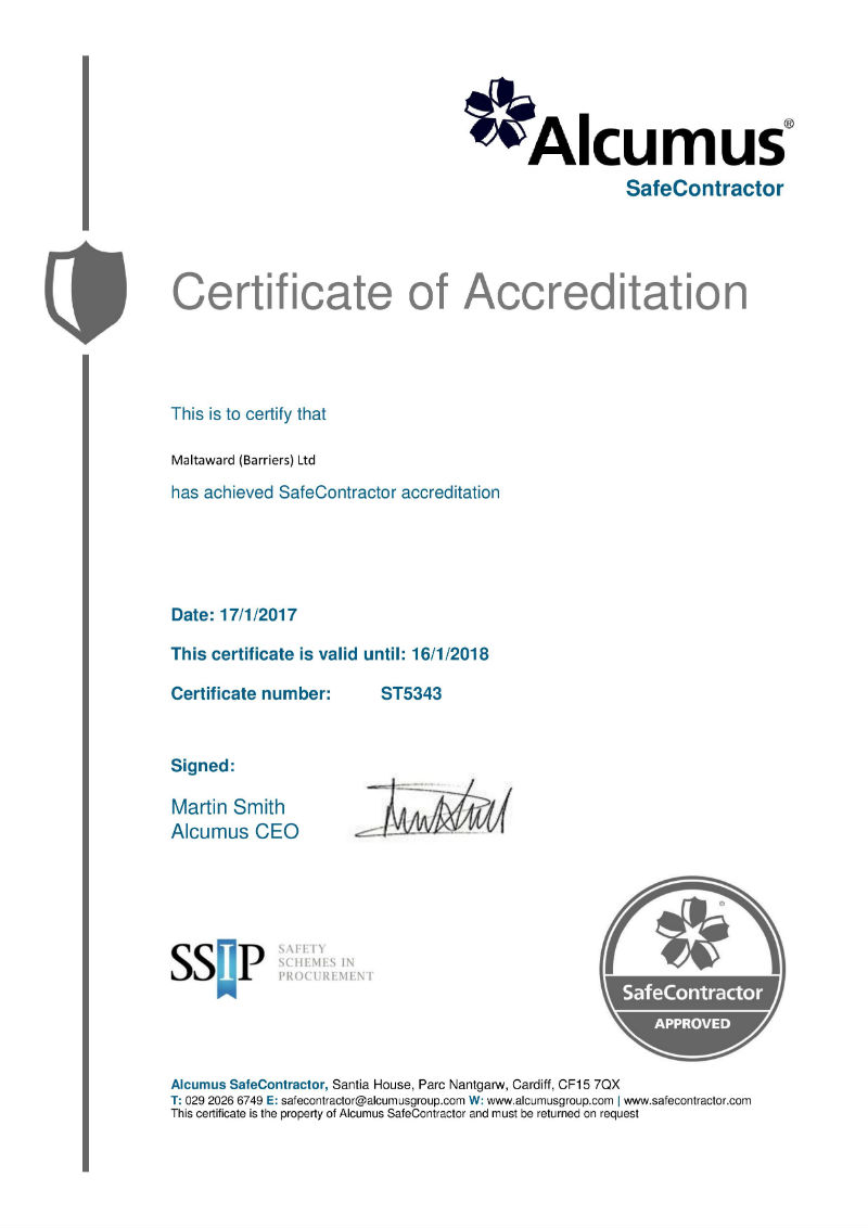 Safecontractor Certificate of Accreditation