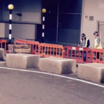 Permanent fitted concrete street furniture units at Heathrow