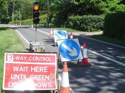 NRSWA and Highways Authority accredited workforce - Roadworks image showing signs and traffic lights