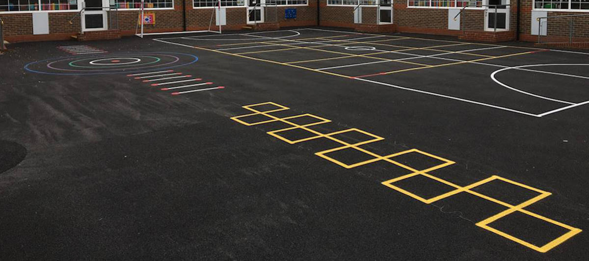 School playground painted line markings